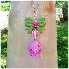 Pink Takochu kawaii Necklace pink green bow rose mod. $25.00, via Etsy.