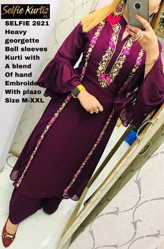 Trendy embroidery designs for kurtis shops Ideas Embroidery Suits Punjabi, Hand Embroidery Dress, Embroidery Suits Design, Embroidery Fashion, Embroidery Designs, Designer Punjabi Suits Patiala, Women Salwar Suit, Indian Designer Suits, Churidar