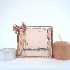 Glass Tea Light Holder Pale Orange and Copper