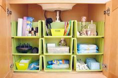 Very smart #bathroom cabinet storage and organization idea! Make the most of the vertical area with open faced stackable baskets.  They are ideal for toiletries, linens and paper products. Renter Friendly Organizing Tips. Clever thinking!