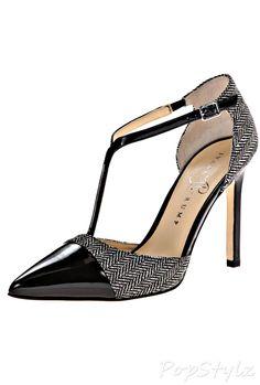 Ivanka Trump Camela3 Herringbone Leather Dress Pump