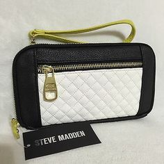 NWT-STEVE-MADDEN-Black-White-Chartreuse-Color-Block-BMagnolia-Wallet-Wristlet