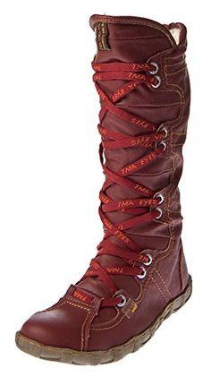 Leder Stiefel Damen Rot Schuhe echt Leder Winter TMA Stiefel gefüttert Gr. 40