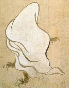 """Ittan-momen / 一反木綿 (""""One-tenth hectare of cotton"""") is a Tsukumogami formed from a roll of cotton. Ittan-momen flies through the air at night and attacks humans, often by wrapping around their faces to smother them."""
