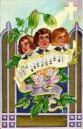 Vintage Easter card with passion flower and singers