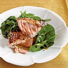 Miso-Glazed Salmon with Wilted Spinach | MyRecipes.com