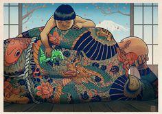 Diseño e ilustración de MATEUS KOLEK Creatividad, color e inspiración desde Polonia Art And Illustration, Illustrations, Irezumi, Yakuza Style Tattoo, Dragon Fight, Art Asiatique, Japanese Tattoo Art, Art Japonais, History Channel