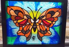 Butterfly painting stained glass look by SparkysGlassArt on Etsy, $55.00