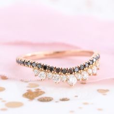 Crown Wedding Band with Black and White Diamond in Rose Gold Curved Band