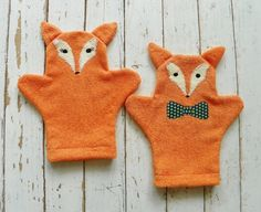 Foxy Terry Cloth Bath MittsSet of 2 Size Large by busybonniebee, $22.00