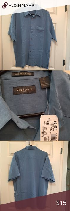 NWT men's Van Heusen washable silk shirt szMed NWT men's Van Heusen washable silk shirt szMed.  Slate blue short sleeve button down with breast pocket. 100% silk, but not the 'silky' feel, more like bamboo cotton feel. Subtle line print. Never worn. Van Heusen Shirts Casual Button Down Shirts