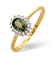 The Diamond Store.co.uk Green Sapphire and 0.08CT Diamond Ring 9K Yellow Gold Green Sapphire amp