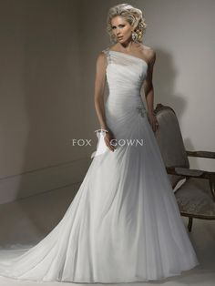 modest white a-line wedding dress beaded chiffon one-shoulder neckline. Maybe just a little more puffy on the bottom!! ;)