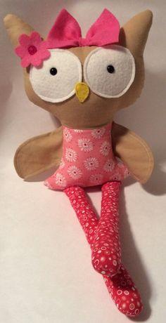 """Handmade Girl Owl Cloth Doll 18"""" Sabrina Plush Softie Rag Doll With Pink Dress Black Safety Eyes Child Friendly by Darlingdollyss on Etsy"""