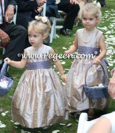 flower girl dresses in Latte and Euro Peri silk