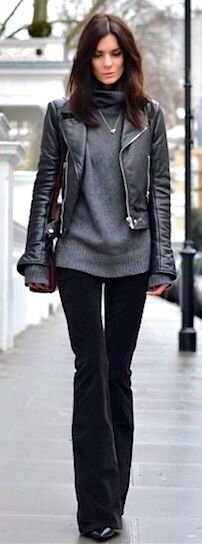 Love the texture & length of the sweater contrasting with the leather jacket. Like the edginess of the jacket. Could you bend your arms in this?