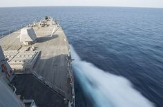 Guided-missile destroyer USS Gravely (DDG 107) transits the Gulf of Oman.