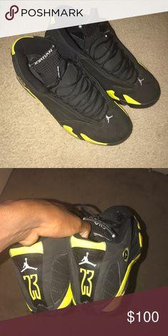 "28fc7d41c2d Air Retro Jordan 14 ""Thunder"" condition Doesn't have its original box  Jordan Shoes Sneakers"
