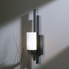 Hubbardton Forge Ondrian 1 Light Wall Sconce Finish: Natural lron, Shade Color: Stone, Bulb Type  Type: 1 x Fluorescent