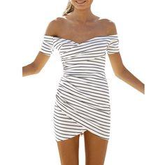 Sexy Women Summer 2018 Dress Striped White Slash Neck Mini Dresses Short  Sleeve Sashes Off Shoulder Vintage Casual Vestidos 77712a1f437e
