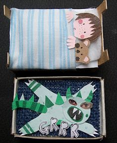 Inspiration: matchbox art (the monster can slide back under the bed)