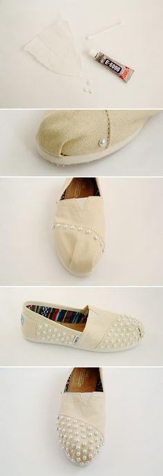 We love this pair of pearl #DIY TOMS by Fall For DIY. Get started with your own pair here: http://bit.ly/1iZ5Iwn