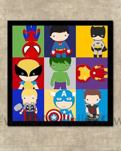 Super Hero Pop Art 10x10 Fine Art Print including Superman, Batman, Spiderman, Wolverine, Thor, Captain America, Hulk, Iron Man & Hawk Eye