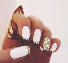 White Nails with Gold Glitter fashion nails nail polish gold white silver nail art manicure