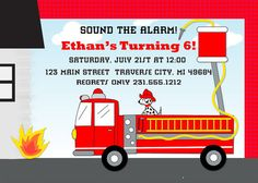 Fireman Invitation  Printable Fire Fighter by AnnounceItFavors, $15.00will print also if want