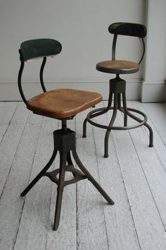 TWO INDUSTRIAL WORKSHOP STOOLS BY 'EVERAULT' In original, used condition. English, c.1920 £250 each