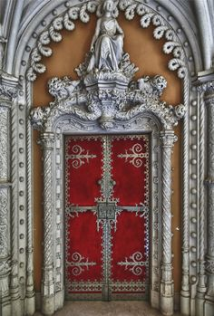 Door to manor house (Quinta da Regaleira) in Sintra's Old Quarter, Portugal