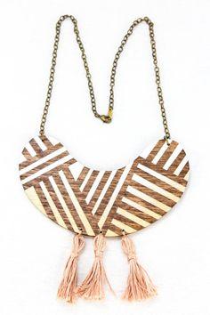 Voz Deco Tasseled Bib Necklace White/Gold on Etsy, $42.00