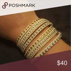 """Vegan Leather Wrap Bracelet with Austrian Crystals Colored vegan leather set with Austrian crystals. Great accent piece with casual attire. This item is brand new in package..it does not have """"tags"""" Jewelry Bracelets"""