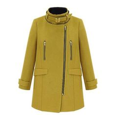 Yellow Ladies Zipper Hooded Long Chic High Neck Tweed Coat ($61) ❤ liked on Polyvore featuring outerwear, coats, yellow, yellow coat, hooded zipper coat, hooded coat, zipper coat and long coat