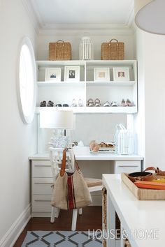 This dressing room has built-in storage and shelving in every corner. A small desk doubles as a vanity and impromptu office, while shelving above the desk displays favorite shoes and photographs. Dressing Chic, Grand Dressing, Dressing Room Design, Dressing Area, Small Dressing Rooms, Dressing Room Closet, Closet Desk, Walk In Closet, Closet Office
