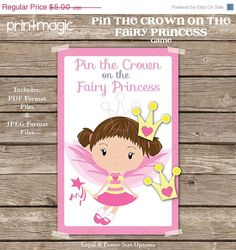 SALE Pin the Crown on the Fairy Princess Printable by printmagic