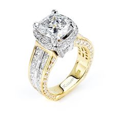 18KT 2 TONE  INVISIBLE SET ENGAGEMENT RING, DIAMOND  2.70CT SIGNATURE COLLECTION