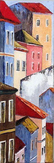 Vertical (Peinture),  15x30 cm par Patricia Lejeune Interprétation de Pelourinho au Brésil