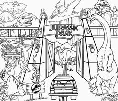 JURASSIC PARK COLOURING PAGES