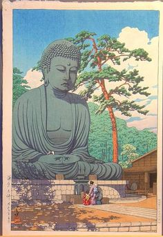 """""""Kamakura Daibutsu"""" (The Great Buddha, Kamakura). The bronze statue of Amida Buddha, also popularly known as """"The Great Buddha of Kamakura"""". It is located near the Kotoku Temple in Kamakura. With a height of 13.35 meters, it is the second highest Buddha statue in Japan. The temple compound which housed the Buddha was swept away by the great tsunami in 1495. But the venerable Buddha remained here to oversee a million people every year."""