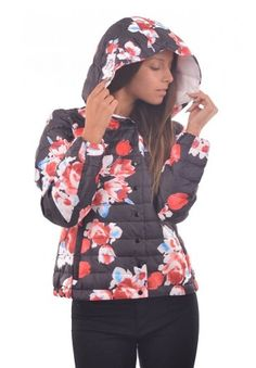 Geci de dama de iarna ieftine: Geaca cu flori multicolore Anca Hooded Jacket, Athletic, Fashion, Jacket With Hoodie, Moda, Athlete, Fashion Styles, Deporte, Fashion Illustrations