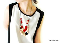 Felt Ball Necklace. Red Necklace. Wooden Bead Necklace. Large bead Necklace. Wool Necklace. Quirky. Bold. Adjustable Necklace. on Etsy, $24.99 AUD