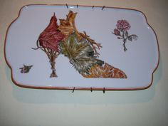 Bandeja :Zapato ,pintado a mano ,todo plumín ;por ArtesAna...