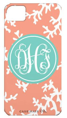 Coral Monogrammed Personalized Cell Phone or by LibbieandWinston, $35.00