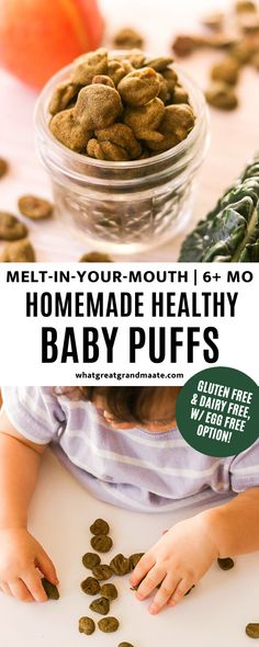 Healthy homemade baby puffs are a great gluten free and dairy free baby finger food that can also be made egg free. Melts in your mouth and it's a great mess-free snack for babies over 6 months for baby led weaning. #babyledweaning #blw #startingsolids #babyfood Homemade Baby Puffs, Homemade Baby Snacks, Dairy Free Recipes, Baby Food Recipes, Puff Recipe, Baby Finger Foods, How To Make Homemade, Egg Free, Healthy