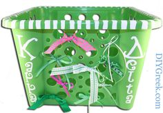 Kappa Delta Basket to put all your Little Sister Gifts.  I used the CUSTOM Stencils, ribbon, and Paint from DIYGreek.com Supply Sack.  Bought the Basket at a dollar store. #KD, #kay dee, #kappa delta, #little sister, #gift idea, #ribbon, #craft, #sorority, #greek