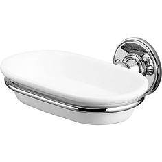 Burlington Wall Mounted Soap Dish.  Mirror finish chrome and white ceramic dish.  Removable for cleaning, solid quality feel.