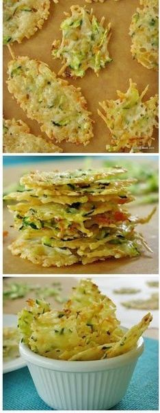 Parmesan Cheese Crisps Laced with Zucchini & Carrots - Cheese Chips - Ideas of Cheese Chips Veggie Recipes, Appetizer Recipes, Low Carb Recipes, Cooking Recipes, Healthy Recipes, Recipes With Zucchini, Think Food, I Love Food, Parmesan Cheese Crisps