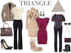Characteristics of the triangle body  Your shoulders and waist are narrower than the hips.   Your shoulders also could be narrow or sloping.   You may have large hips and small bust line.   Your waist is well defined, your tights may be full and your bottom could be round.How to dress a triangle body shape