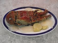 Fresh, boiled lobster from the market in St Lucia, West Indies.
